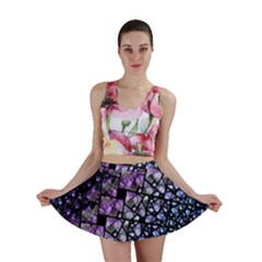 Dusk Blue And Purple Fractal Mini Skirt by KirstenStarFashion
