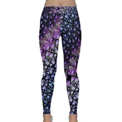 Dusk Blue and Purple Fractal Yoga Leggings  by KirstenStarFashion