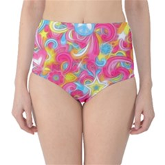 Hippy Peace Swirls High Waist Bikini Bottoms