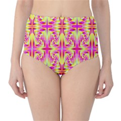 Pink And Yellow Rave Pattern High Waist Bikini Bottoms