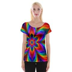 Rainbow Flower Women s Cap Sleeve Top by KirstenStarFashion