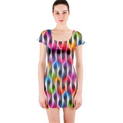 Rainbow Psychedelic Waves Short Sleeve Bodycon Dress