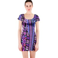 Stained Glass Tribal Pattern Short Sleeve Bodycon Dress by KirstenStarFashion