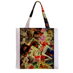 Stamps Zipper Grocery Tote Bags by bonteruko