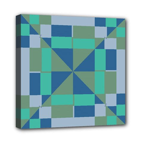 Green Blue Shapes Mini Canvas 8  X 8  (stretched) by LalyLauraFLM
