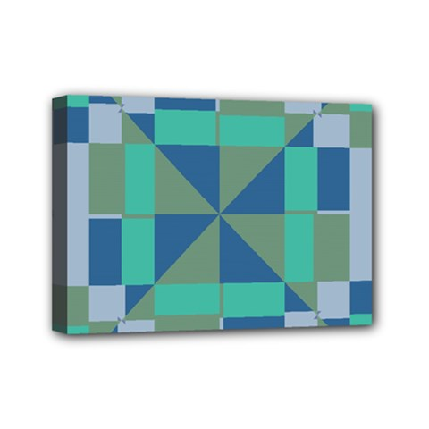 Green blue shapes Mini Canvas 7  x 5  (Stretched) by LalyLauraFLM