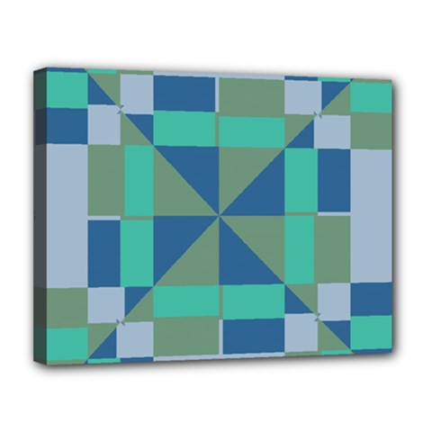 Green Blue Shapes Canvas 14  X 11  (stretched) by LalyLauraFLM