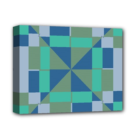 Green Blue Shapes Deluxe Canvas 14  X 11  (stretched) by LalyLauraFLM