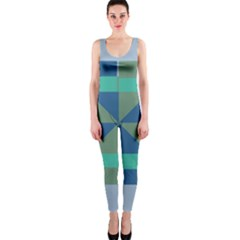 Green Blue Shapes Onepiece Catsuit by LalyLauraFLM