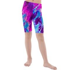 Stormy Pink Purple Teal Artwork Kid s swimwear