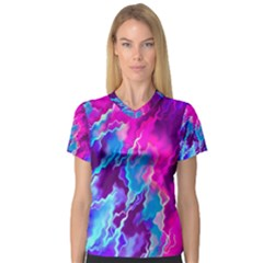 Stormy Pink Purple Teal Artwork Women s V Neck Sport Mesh Tee