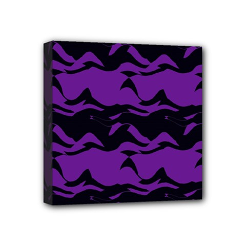 Mauve Black Waves Mini Canvas 4  X 4  (stretched) by LalyLauraFLM
