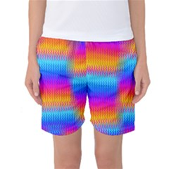 Psychedelic Rainbow Heat Waves Women s Basketball Shorts by KirstenStarFashion