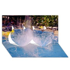 Splash 3 Twin Hearts 3d Greeting Card (8x4)  by icarusismartdesigns