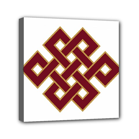 Buddhist Endless Knot Auspicious Symbol Mini Canvas 6  X 6  (stretched)
