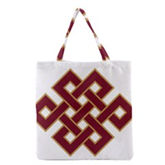 Buddhist Endless Knot Auspicious Symbol Grocery Tote Bag by CrypticFragmentsColors