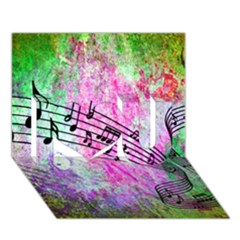 Abstract Music  I Love You 3d Greeting Card (7x5)