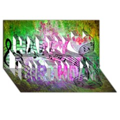 Abstract Music  Happy Birthday 3d Greeting Card (8x4)  by ImpressiveMoments
