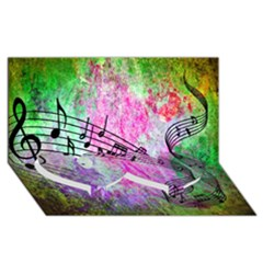 Abstract Music  Twin Heart Bottom 3d Greeting Card (8x4)  by ImpressiveMoments