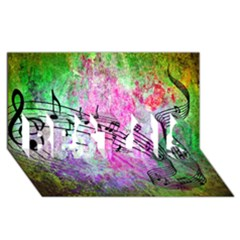 Abstract Music  Best Sis 3d Greeting Card (8x4)