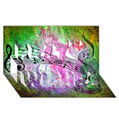 Abstract Music  Best Wish 3d Greeting Card (8x4)