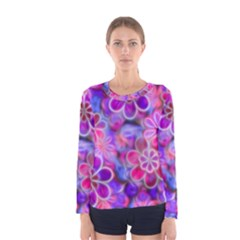 Pretty Floral Painting Women s Long Sleeve T Shirts by KirstenStar