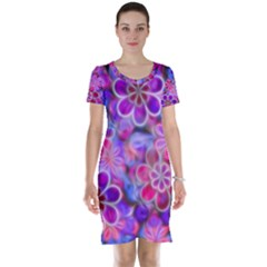 Pretty Floral Painting Short Sleeve Nightdresses
