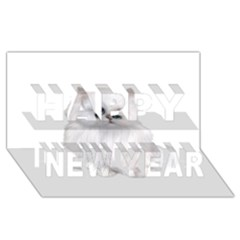White Persian Cat Clipart Happy New Year 3d Greeting Card (8x4)  by AlteredStates
