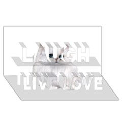White Persian Cat Clipart Laugh Live Love 3d Greeting Card (8x4)