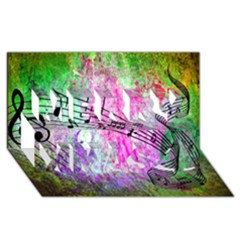 Abstract Music 2 Merry Xmas 3d Greeting Card (8x4)