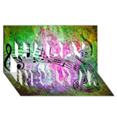 Abstract Music 2 Happy New Year 3d Greeting Card (8x4)