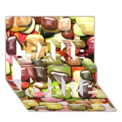 Stones 001 Take Care 3d Greeting Card (7x5)