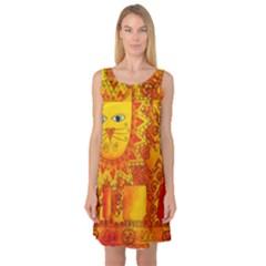 Patterned Lion Sleeveless Satin Nightdresses by julienicholls