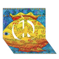 Patterned Fish Peace Sign 3d Greeting Card (7x5)