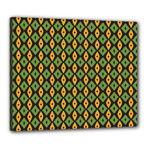 Green Yellow Rhombus Pattern Canvas 24  X 20  (stretched) by LalyLauraFLM