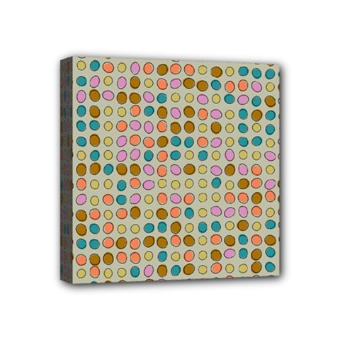 Retro dots pattern Mini Canvas 4  x 4  (Stretched) by LalyLauraFLM