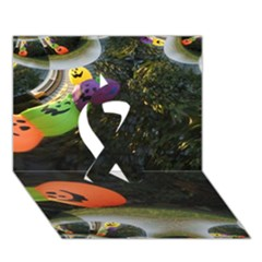 Floating Pumpkins Ribbon 3d Greeting Card (7x5)