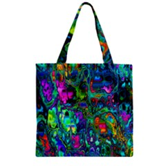 Inked Spot Fractal Art Zipper Grocery Tote Bag by TheWowFactor