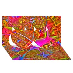 Biology 101 Abstract Twin Hearts 3d Greeting Card (8x4)