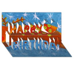 Rudolph The Reindeer Happy Birthday 3d Greeting Card (8x4)  by julienicholls