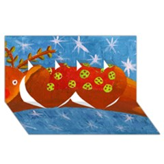 Rudolph The Reindeer Twin Hearts 3d Greeting Card (8x4)  by julienicholls