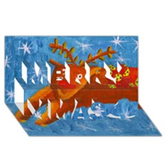 Rudolph The Reindeer Merry Xmas 3D Greeting Card (8x4)