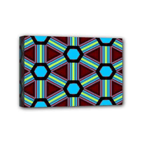 Stripes And Hexagon Pattern Mini Canvas 6  X 4  (stretched) by LalyLauraFLM