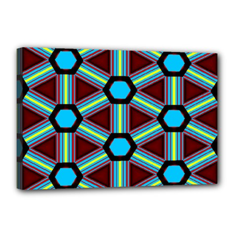 Stripes And Hexagon Pattern Canvas 18  X 12  (stretched) by LalyLauraFLM