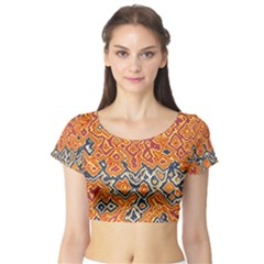 Red Blue Yellow Chaos Short Sleeve Crop Top