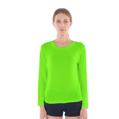 Bright Fluorescent Neon Green Women s Long Sleeve T-shirts by PodArtist