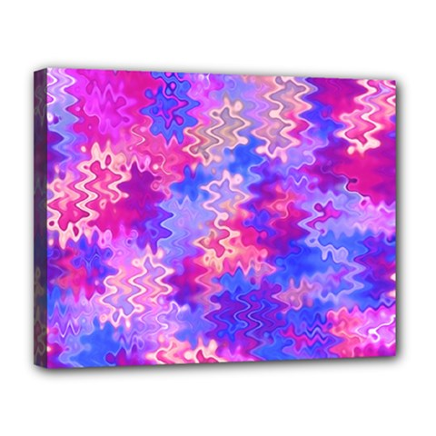 Pink And Purple Marble Waves Canvas 14  X 11  by KirstenStar