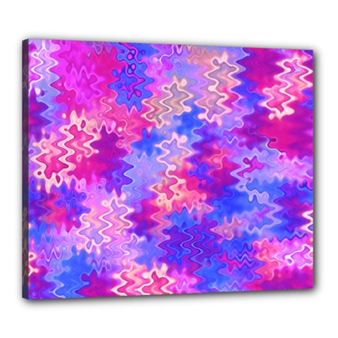 Pink And Purple Marble Waves Canvas 24  X 20  by KirstenStar