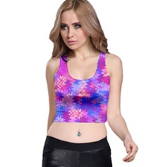 Pink And Purple Marble Waves Racer Back Crop Tops