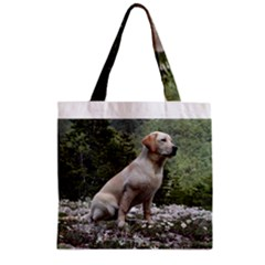 Yellow Lab Sitting Zipper Grocery Tote Bags by TailWags